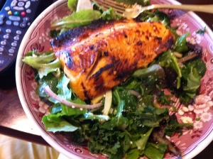 Saturday lunch,  too lazy to cook I picked pre cooked char and made salad.