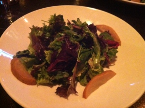 To start, the pear salad