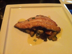 Entree: Pan Seared Trout with Veggies.