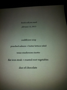 Food Creates Community Menu... I passed on the dessert and gave my risotto to a friend...YUM