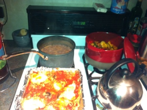 Cooking for the week.. black beans, baked eggs, ratatouille.
