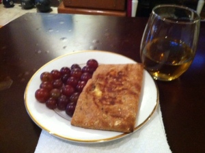 Cheese pocket dinner, not the healthiest but i was craving grilled cheese,  at least I kept my portion in check :)